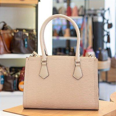 Bolsa de couro estruturada Alessandra marfim