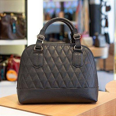 Bolsa satchel de couro legítimo Nicole preta