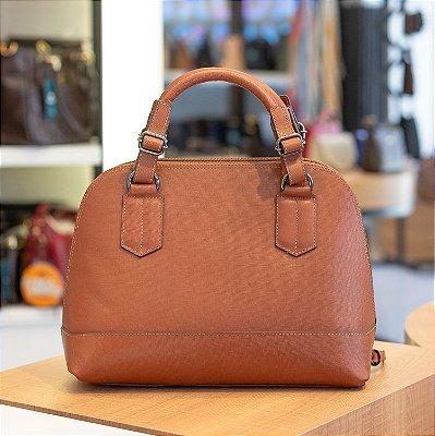 Bolsa satchel de couro legítimo Nicole conhaque