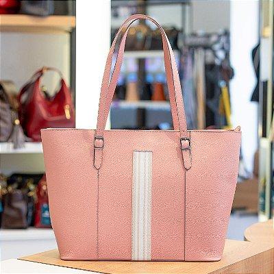Bolsa shopper de couro legítimo Vivian rosa