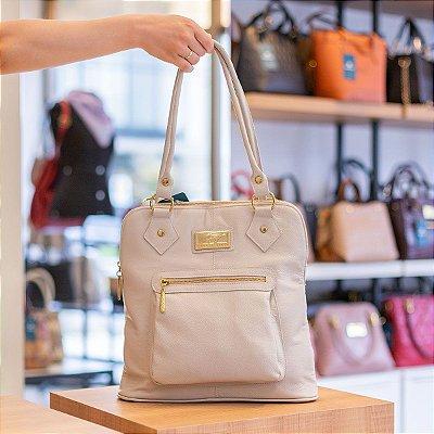 Bolsa mochila em couro legítimo marfim
