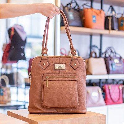 Bolsa mochila em couro legítimo caramelo