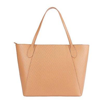 Bolsa Shopping bag de couro Helena nude tramado