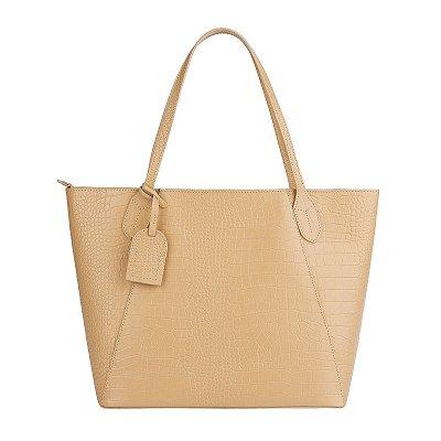 Bolsa Shopping bag de couro Helena nude croco