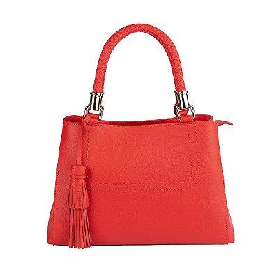 Bolsa de couro legítimo alça tricê Mirian vermelha