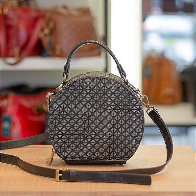 Mini bolsa redonda de couro legítimo Renata preto