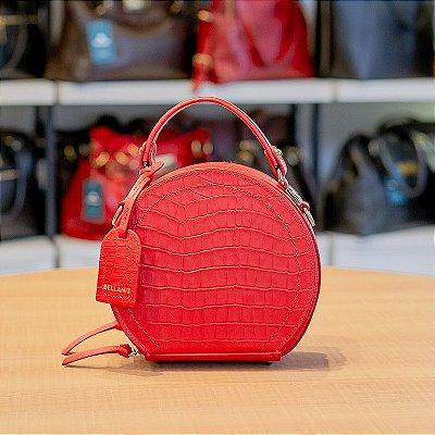 Mini bolsa redonda de couro legítimo Renata vermelha