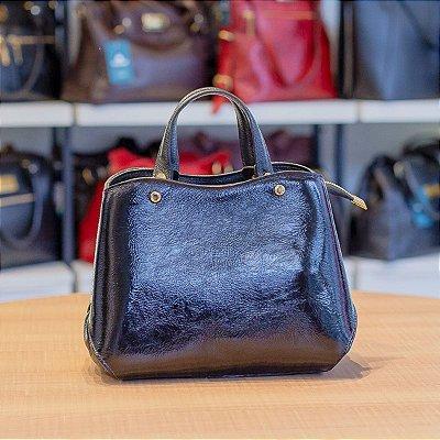 Bolsa de mão em couro Megan preta verniz molhado