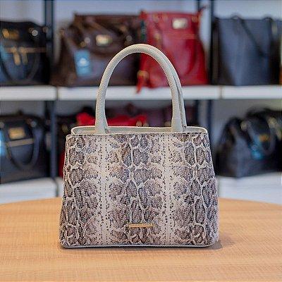 Bolsa de mão Melina em couro marfim cobra