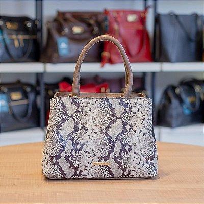Bolsa de mão Melina em couro cedro cobra