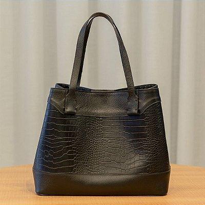Bolsa de couro legítimo Ágatha preta