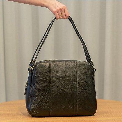 Bolsa de couro legítimo Raquel preta