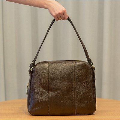 Bolsa de couro legítimo Raquel café