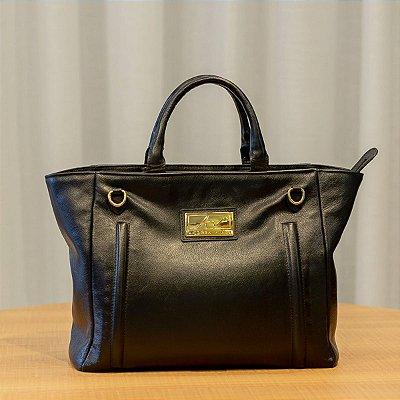 Bolsa de mão em couro legítimo Melanie preta