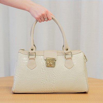 Bolsa de couro feminina Bethy marfim