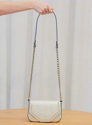 Mini bolsa de festa em couro legítimo Paty prata
