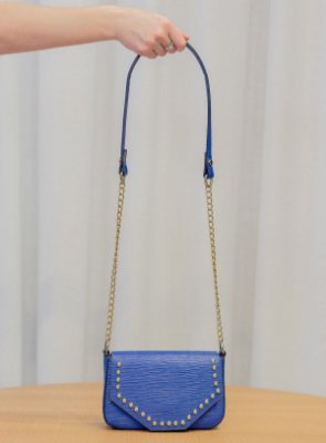 Mini bolsa de festa em couro legítimo Paty azul