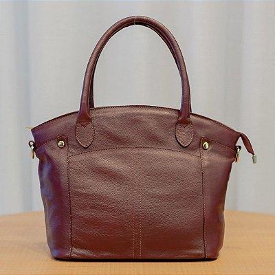 Bolsa feminina de couro legítimo Margareth marsala