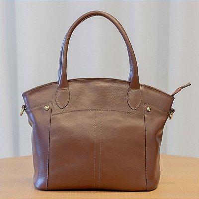 Bolsa feminina de couro legítimo Margareth pinhão