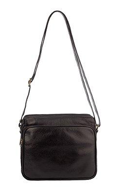 Bolsa tiracolo com divisórias Rita em couro preta