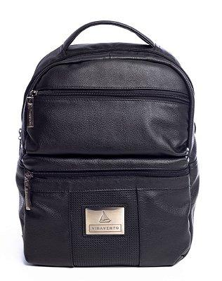 Mochila masculina dois bolsos em couro legítimo preta