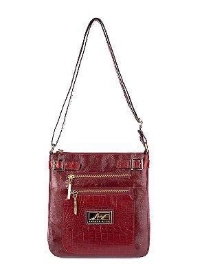 Bolsa Transversal feminina de couro vermelha