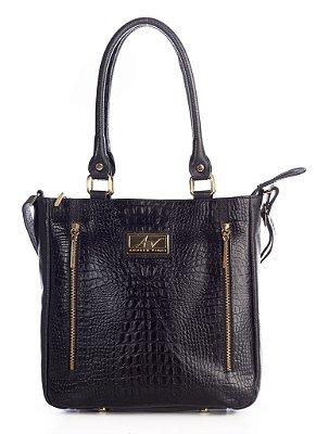 Bolsa Liz em couro legítimo preta