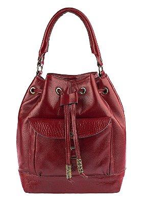 Bolsa saco com bolso em couro legítimo vermelha
