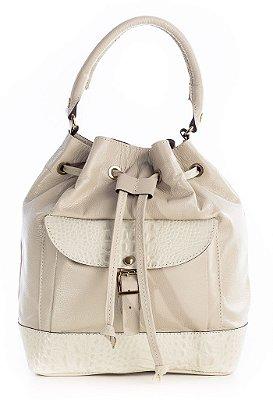 Bolsa saco com bolso em couro legítimo marfim