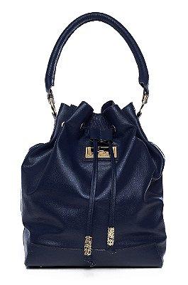 Bolsa saco em couro legítimo azul