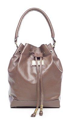 Bolsa saco em couro legítimo chocolate