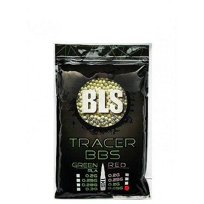 Esfera Plástica Feasso BBS Airsoft BLS de Alta Precisão 0.25g Traçante Verde (Tracer Green) com 4.000 Bolinhas / Esferas