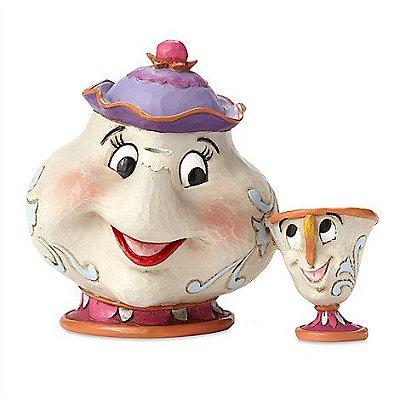 Bule Madame Samovar Mrs Potts e xicara Chip Bela e a Fera figurine by Jim Shore
