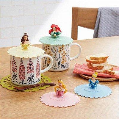 Tampa para canecas Princesas Ariel, Cinderela, Aurora ou Bela