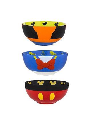 Conjunto de Bowls Mickey Pateta Pato Donald Disney Parks
