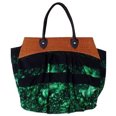 Bolsa de Praia em Tecido e Palha Preta com Verde