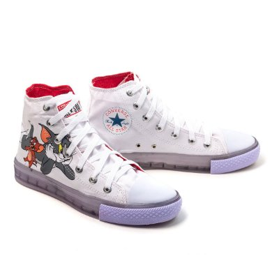TÊNIS CONVERSE ALL STAR FEMININO BRANCO TOM E JERRY