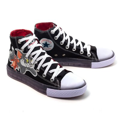 TÊNIS CONVERSE ALL STAR FEMININO PRETO TOM E JERRY
