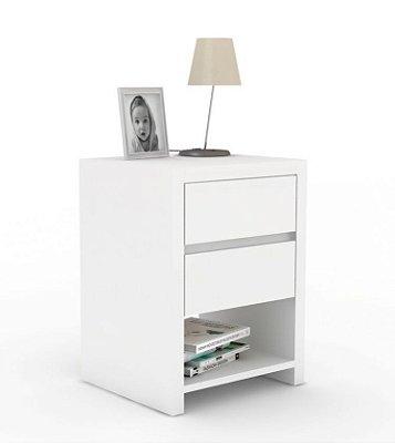 Mesa de Cabeceira de chão com duas gavetas em branco - 100% MDF