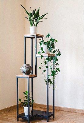 Suporte de plantas metal e madeira MDF