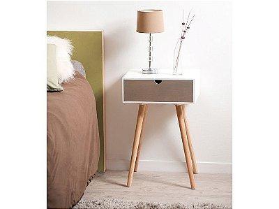Mesa de Cabeceira com gaveta e pés palito - 100% MDF - Opção de cores