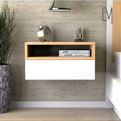 Mesa de cabeceira suspensa com gaveta e nicho - Opção de cores