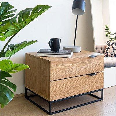 Mesa de Cabeceira duas Gavetas com pés de Metal - 100% MDF - Escolha sua cor