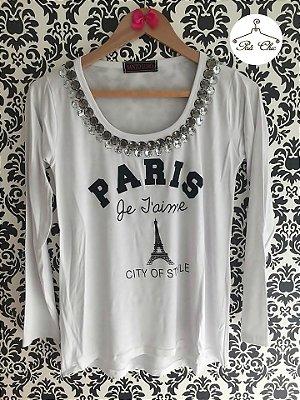 T-shirt Paris | Branca [ Bordada ] Manga Longa