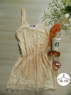 Vestido Regata de Paetê  [ Nude ] Tamanho: M
