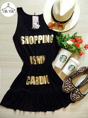 Vestido Regata Preto || Dourado [ Estampa Shopping Is My Cardio ] Tamanho Único