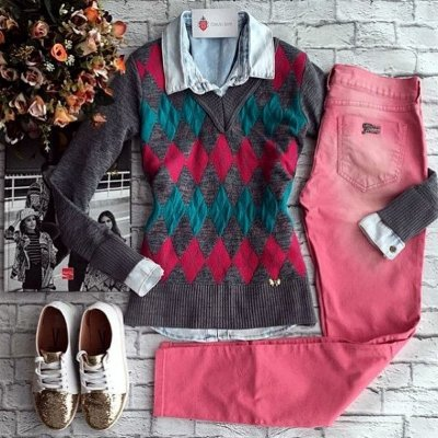 Blusa de Tricot Escocesa | Xadrez  [ Modal ] Cinza || Rosa + Verde