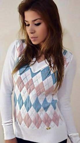 Blusa de Tricot Escocesa   Xadrez [ Modal ] Branca