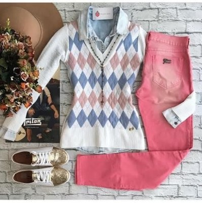 Blusa de Tricot Escocesa | Xadrez [ Modal ] Branca
