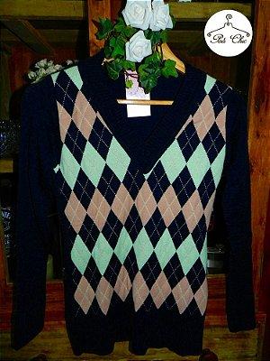 Blusa de Tricot Escocesa | Xadrez [ Modal ] Preta {{ Verde + Rosa}}